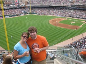 Christine and I at a Tigers Game in 2010, one day after a wedding in the area.