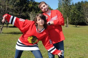 Christine and I don't agree on hockey teams.